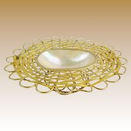 """Palais Royal  French Mother of Pearl Basket Trinket """"DOUBLE HANDLE"""""""