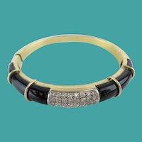 Diamond and Onyx 750  18KARAT Yellow Gold Bracelet