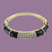 Diamond and Onyx 750  18KARAT Yellow Gold Bracelet