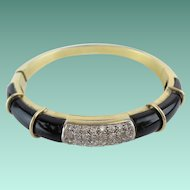 RL Magnificent Diamond and Onyx 750 18KARAT Yellow Gold Bracelet