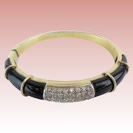 RL Magnificent Diamond and Onyx 750 18KARAT Yellow Gold Bracelet