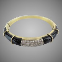 Magnificent Diamond and Onyx 750  18KARAT Yellow Gold Bracelet