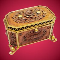"""Antique French Jeweled Wood Craved Casket Hinged Box """"EXQUISITE"""""""