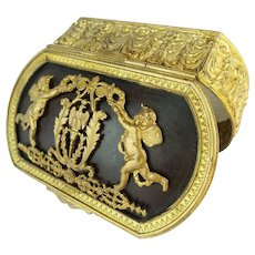 """Antique French Empire Style Oval Hinged Box"""" Putti and stunning ormolu"""""""