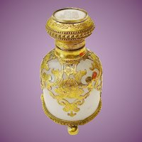 """Grand Tour White Opaline Scent"""" Hand Painted Miniature Top"""""""