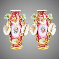 "BEAUTIFUL Antique  Porcelain ""Old Paris"" Vases EXQUISITE"