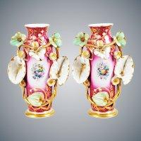"""BEAUTIFUL Antique  Porcelain """"Old Paris"""" Vases EXQUISITE"""