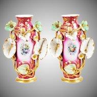 """LAYAWAY Antique  Porcelain """"Old Paris"""" Vases EXQUISITE"""