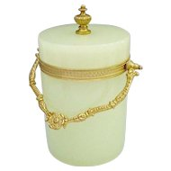 Antique French Green Opaline Covered Box