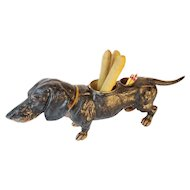 "Antique Dog Cigar & Match Holder  "" DELIGHTFUL"""
