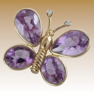 Vintage Amethyst  and  Diamond Butterfly 14k Gold Broach