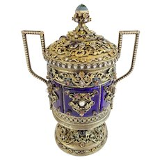 """Antique Jeweled Enamel Covered Silver Double Handle Urn """"PEARLS,GARNETS,EMERALDS &JADE"""