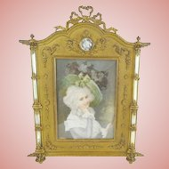 """Fabulous Antique French Bronze Mother of Pearl Frame """"LOVELY MINIATURE"""""""