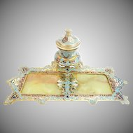 Antique French Bronze Champlevé & Green Onyx Inkwell