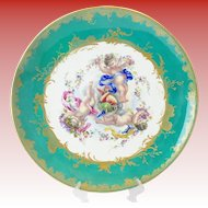"""18"""" Antique Porcelain Charger """"Three Winged Cherubs""""  MAGNIFICENT"""