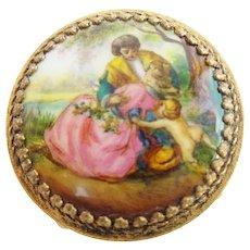 "Austria Enamel Miniature Round Stool  "" Pastoral Scenes w/ Putti"""