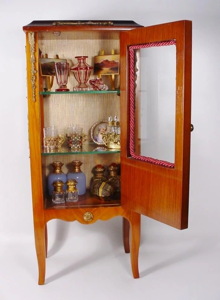 lovely vintage french style miniature vitrine curio worldrarities ruby lane. Black Bedroom Furniture Sets. Home Design Ideas