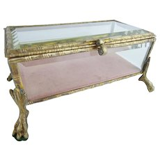 Antique French Bronze and Crystal Hinged Box ~ BIG PAW FEET ~ Original Velvet Lining