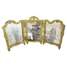 Antique French Gilt Bronze Triple Frame