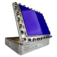 Antique Jeweled Silver Hinged Box