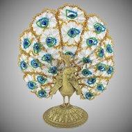 """17"""" 1920 Czech Peacock Lamp """"THREE LIGHT"""""""