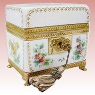 "Antique French Bulle de Savon Opaline Casket Hinged Box ""GRANDEST"""