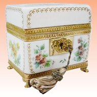 "Antique French Bulle de Savon Opaline Casket Hinged Box ""GRANDEST"""