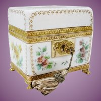 "Exquisite Antique French Bulle de Savon Opaline Casket Hinged Box ~  ""ONE OF A KIND"""