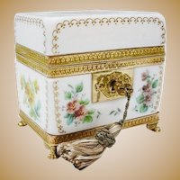 """Exquisite Antique French Bulle de Savon Opaline Casket Hinged Box ~  """"ONE OF A KIND"""""""