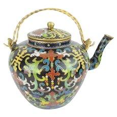 """Antique Chinese  Cloisonne Tea Pot """"Double Handles"""""""