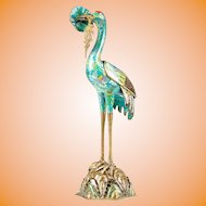 """Very Special 23"""" Antique Chinese Cloisonne Egret  Censer ~A Fabulous Chinese Treasure"""