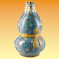 "Antique 15"" Chinese Double Gourd Cloisonné  Vase "" RARE SHAPE"""
