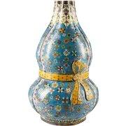 """Antique 15"""" Chinese Double Gourd Cloisonné  Vase """" RARE SHAPE"""""""