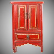 "Beautiful 16"" Chinese Miniature Red Lacquered Cabinet"