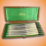 Wonderful Antique Seven Day Set of Wilkinson Straight Razors ~ Original Alligator Box