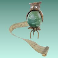 Rare Antique Owl Tape measure with Glass Eyes.
