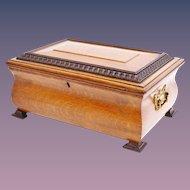 "Antique 14"" Oak Casket Hinged Box with Fancy Brass Handles"
