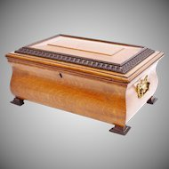 "Antique 14"" Oak Casket Hinged Box with Fancy Brass Handles"