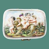 "Antique Capodimonte Casket  Hinge Box ""PUTTI RIDING A TIGER"""