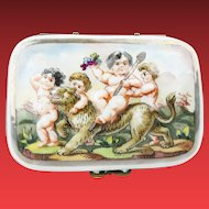 "Antique Capodimonte Casket  Hinge Box ""PUTTI RIDING A TIGER"""
