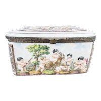 "Antique Capodimonte ""Putti, Tiger and Goat""  Casket Hinged Box"