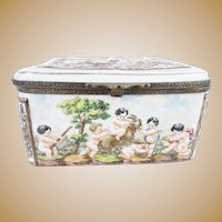 "Wonderful Antique Capodimonte ""Putti, Tiger and Goat""  Casket Hinged Box."
