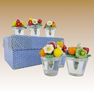Six Czech Glass Fruit and Flowers Place Card Holder ~ Set In the Original Cardboard Box