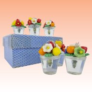 Six Czech Glass Fruit and Flowers Place Card Holder Set In the Original Cardboard Box