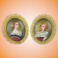 "PAIR Antique French Porcelain Miniatures ""PRETTY SISTERS"""