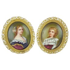 "PAIR Antique French Porcelain Miniatures ""PRETTY SISTERS"""