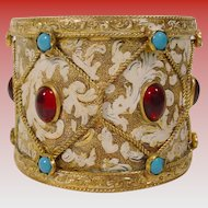 "Antique Austrian Jeweled Enamel Inkwell ""Drum Shape"""