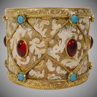 "Antique Austrian Jeweled Enamel Inkwell ""Drum Shape"""