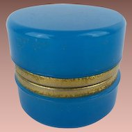 "Antique French  Opaline Casket Hinged Box  "" AWESOME TEAL BLUE"""