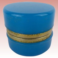 """Antique French  Opaline Casket Hinged Box  """" AWESOME TEAL BLUE"""""""